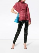 CALVIN KLEIN 205W39NYC Red checked single sleeve top / side ruched