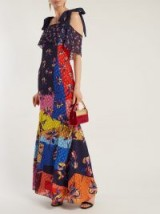 MARY KATRANTZOU Canasta floral and polka-dot fil-coupé gown / flower print & colour block maxi