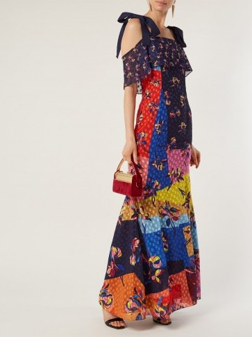 MARY KATRANTZOU Canasta floral and polka-dot fil-coupé gown / flower print & colour block maxi - flipped