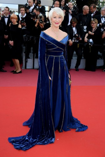 Helen Mirren wore a royal blue bardot gown from the Elie Saab Haute Couture Fall 2017 collection, to 'Girls Of The Sun (Les Filles Du Soleil)' Cannes Film Festival premiere, May 2018 | celebrity red carpet dresses | star style glamour