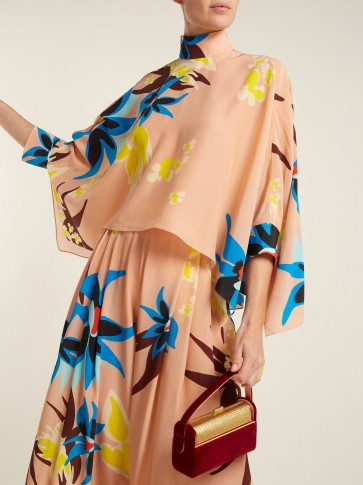DELPOZO Cape-sleeve Hibiscus-print silk blouse ~ pale-pink high neck tops