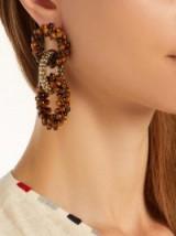 ROSANTICA BY MICHELA PANERO Carramato beaded drop earrings ~ tonal-brown jewellery