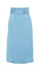 Tibi CHAMBRAY WRAP SKIRT ~ blue lightweight denim