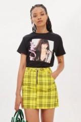 Topshop Checked Denim High Waisted Skirt | yellow tartan skirts