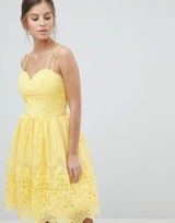 Chi Chi London Cami Strap Mini Prom Dress With Open Back in Yellow – strappy – fit and flare – party fashion