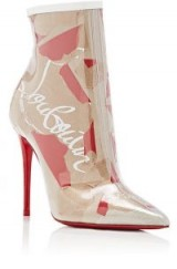 CHRISTIAN LOUBOUTIN So Kate PVC Ankle Boots ~ logo prints
