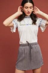 Cloth & Stone Mini Skirt in slate | curved hem