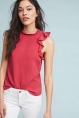 Cloth & Stone Ruffled Tank Top in red