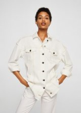 MANGO Contrasted seams denim jacket Ecru | summer style