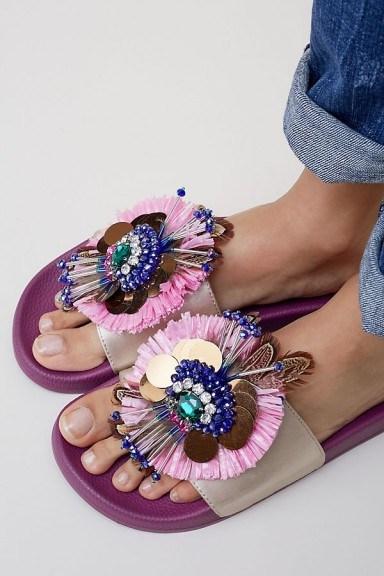 Coral Blue Katrina Embellished Slides | fancy footbed flats - flipped