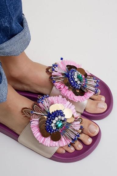 Coral Blue Katrina Embellished Slides | fancy footbed flats