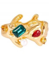 OSCAR DE LA RENTA Coral Crystal Cuff Bracelet / statement jewellery