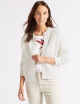 M&S COLLECTION Cotton Blend Textured Cardigan ~ white boxy cardigans