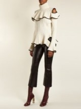 ALEXANDER MCQUEEN Cropped flared leather trousers ~ chic pants