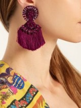 ETRO Crystal-embellished fringed clip-on earrings ~ dark-pink statement jewellery ~ tasseled accessories