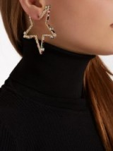 VALENTINO Crystal-embellished star hoop earrings ~ muticoloured statement jewellery