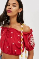 Topshop Cutwork Embroidered Gypsy Crop Top | red frill trimmed bardot
