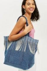 Topshop Denim Fringe Shopper Bag | large casual shoulder bags