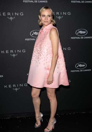 Diane Kruger wore a sleeveless pink floral applique trapeze dress and metallic strappy shoes to the Kering Women in Motion Awards Dinner, during the 2018 Cannes Film Festival – celebrity style fashion
