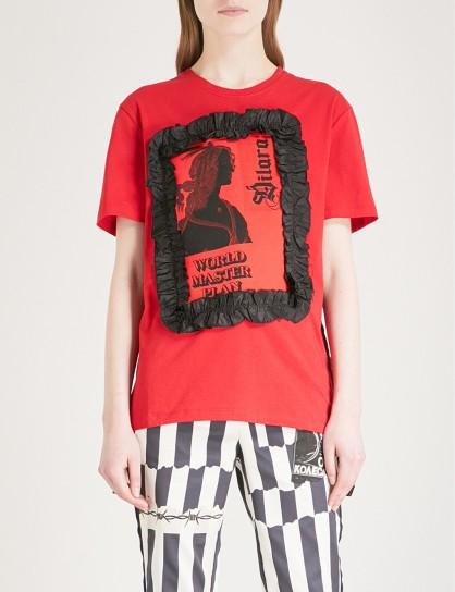 DILARA FINDIKOGLU Master Plan ruffled cotton-jersey T-shirt / red slogan t-shirts