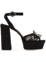 DOLCE & GABBANA black Keira 120 lace platform sandals ~ beautiful Italian shoes