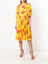 DOLCE & GABBANA fish print shift dress ~ yellow printed dresses