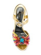 DOLCE & GABBANA Keira sandals ~ metallic chunky block heels