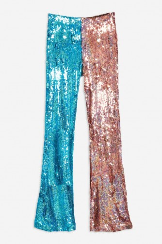 TOPSHOP Double Sequin Flares – metallic trousers – festival glam