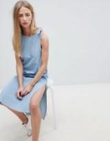 Dr Denim Maxi Denim Dress with Tie Detail | side slit shift