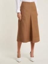 LEMAIRE Draped cotton-denim skirt ~ brown denim skirts