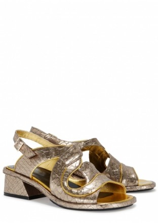 DRIES VAN NOTEN Silver python-effect leather sandals – silver snake prints