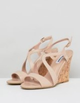 Dune Leather Summer Cork Wedges in nude | chic wedges