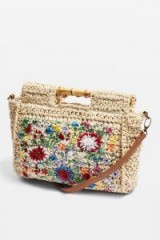 Topshop Embroidered Bamboo Tote Bag | cute floral top handle bags