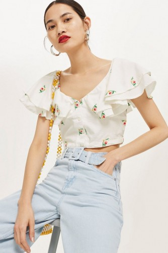feb004dd3b631 TOPSHOP Embroidered Frill Bardot Top   floral embroidery crop tops ...
