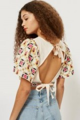 TOPSHOP Embroidered Open Back Cropped Top – vintage style summer fashion