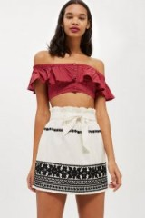 Topshop Embroidered Paper Bag Skirt | bohemian style