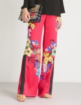 ETRO Pink Floral-print wide-leg high-rise satin trousers