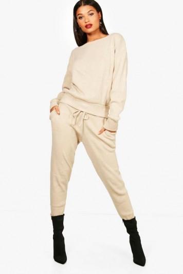 boohoo Faith Boutique Heavy Knitted Loungewear Set – stone – neutral – knitwear
