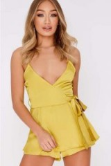 IN THE STYLE FARRAN LIME SATIN PLUNGE FRILL PLAYSUIT – silky strappy romper