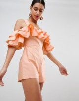 Fashion Union Off Shoulder Playsuit With Ruffle Layers in Apricot