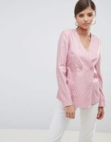 Fashion Union Relaxed Blazer In Fine Stripe – pink striped double breasted blazers