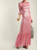 THE VAMPIRE'S WIFE Festival ruffle-trimmed silk-blend lamé dress / shiny pink dresses