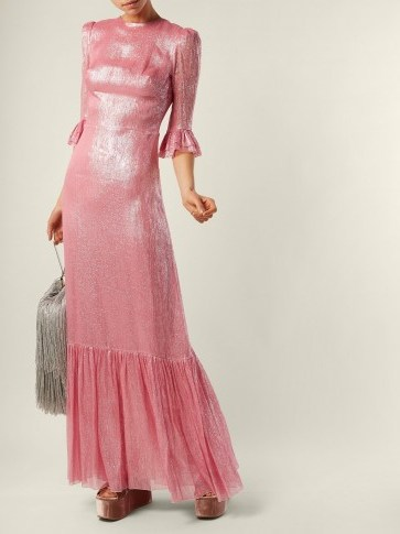 THE VAMPIRE'S WIFE Festival ruffle-trimmed silk-blend lamé dress / shiny pink dresses - flipped