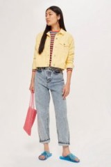 Topshop Fitted Yellow Denim Jacket