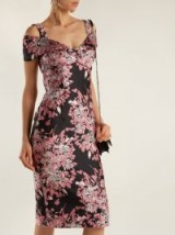 DOLCE & GABBANA Floral jacquard dress ~ cold shoulder