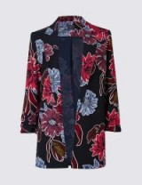 M&S COLLECTION Floral Print Ruched Blazer ~ bold flower prints