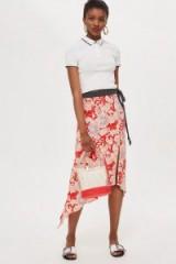 Topshop Floral Spot Trim Midi Skirt | asymmetric hem | front slit