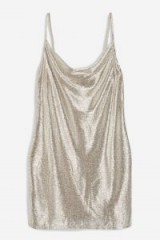 Topshop Foil Cowl Mini Dress | silver slip dresses