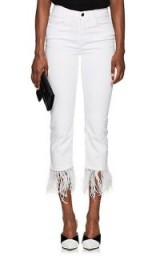 FRAME Le High Straight feather-trimmed Jeans ~ white denim
