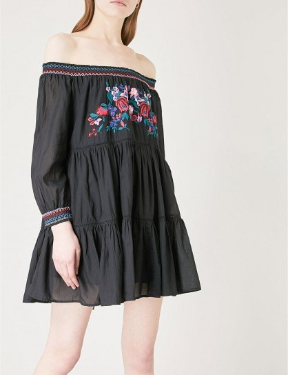 FREE PEOPLE Sunbeams off-the-shoulder woven dress / black floral bardot dresses - flipped